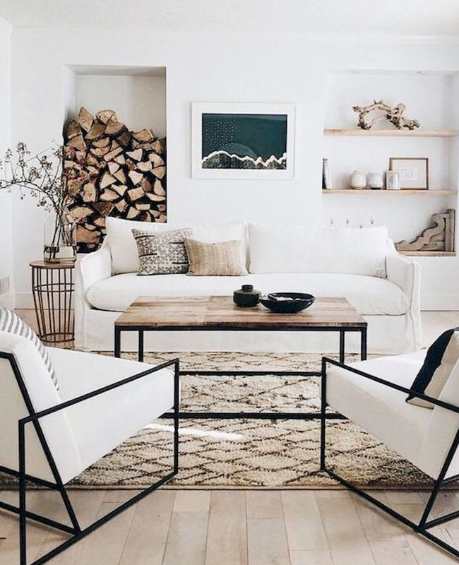 deco salon moderne beige bois