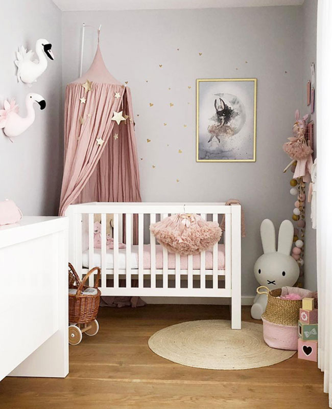 deco chambre bebe rose poudre gris