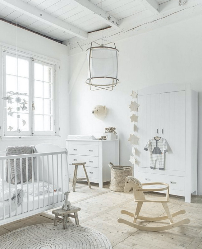 deco chambre bebe bois clair blanc