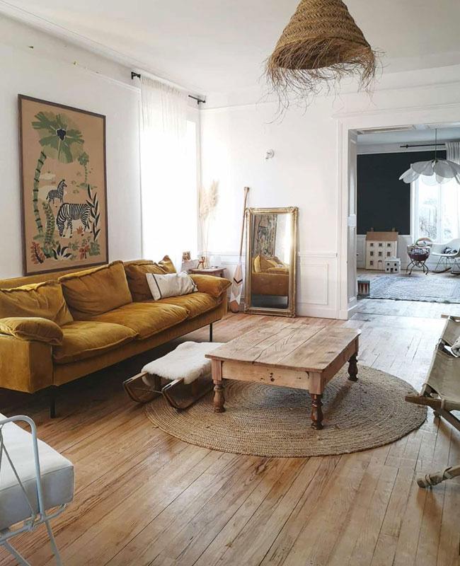 deco boheme vintage salon bois