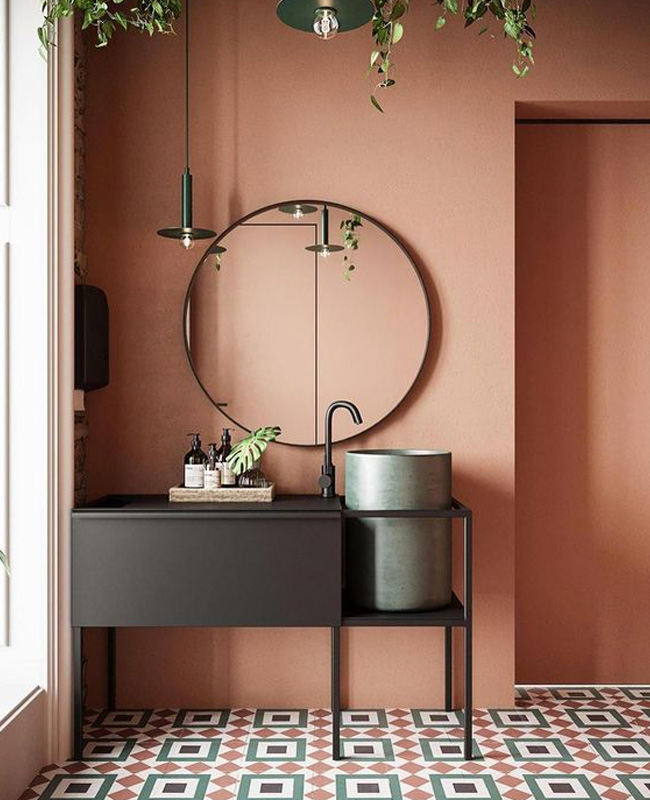 deco salle de bain moderne terracotta noir