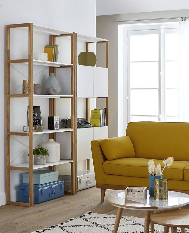 bibliotheque scandinave modulable blanc bois