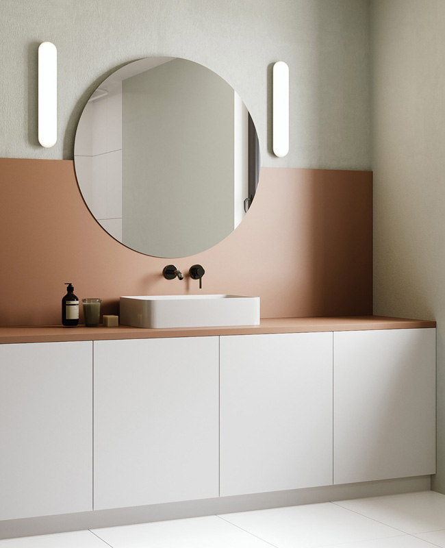 deco salle de bain mur terracotta