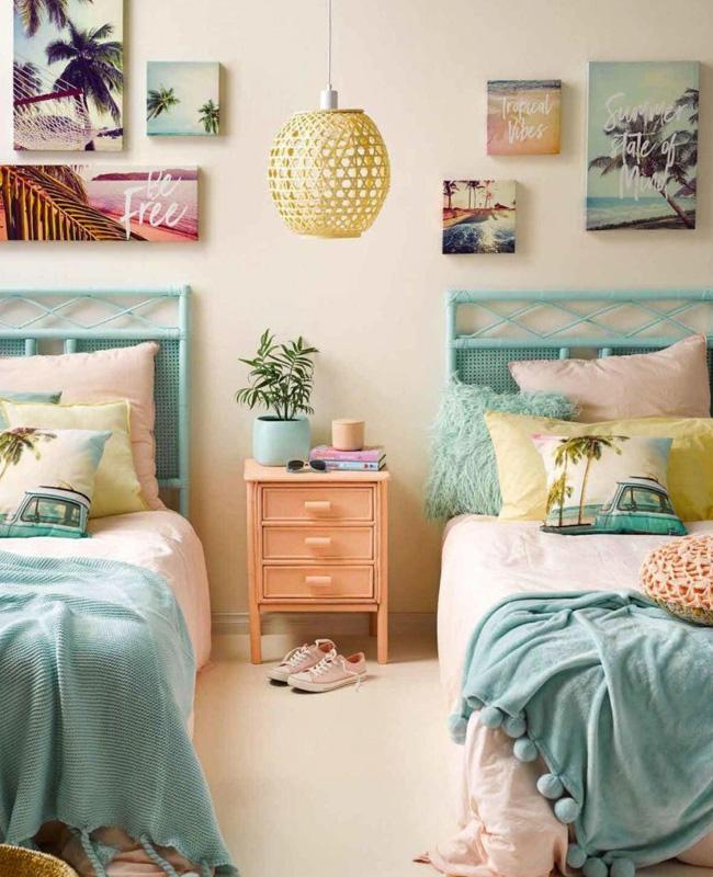 deco surf chambre ado bleu pastel