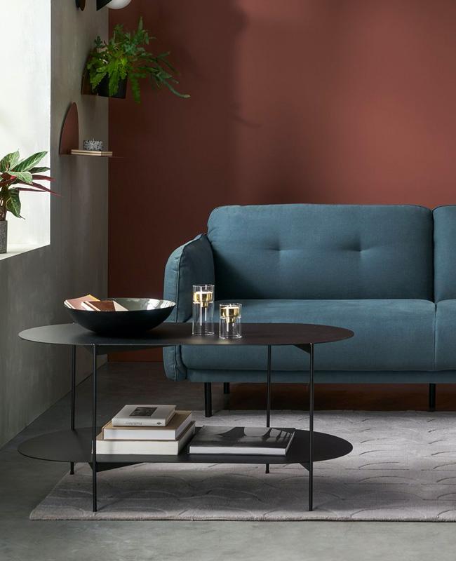 table basse ovale moderne metal noir