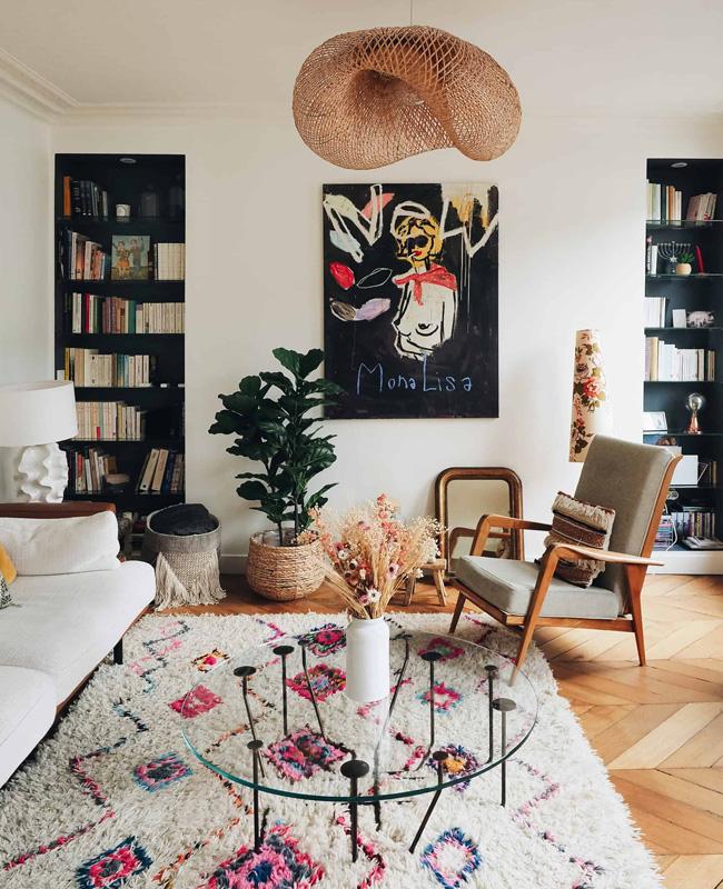 tapis boheme fauteuil vintage deco salon