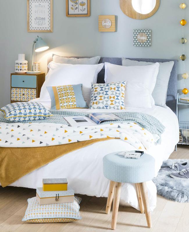 deco chambre ado scandinave bleu jaune