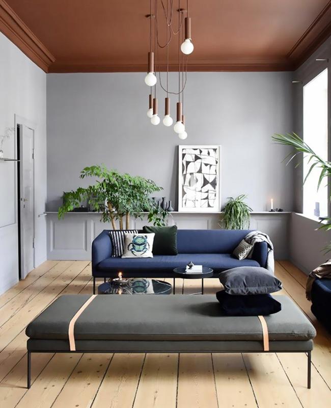 plafond salon peinture terracotta