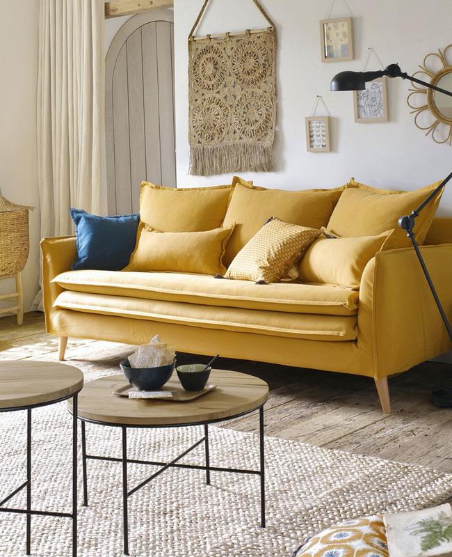 canape jaune moutarde coton lin
