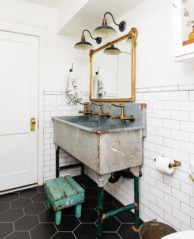 deco campagne chic industrielle salle de bain