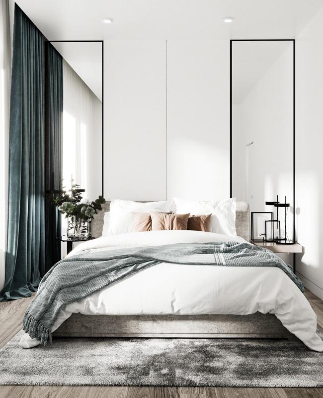 deco chambre moderne gris noir
