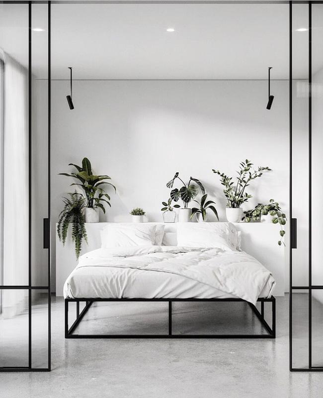 deco chambre moderne gris beton