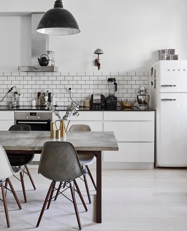 deco cuisine industrielle blanc noir