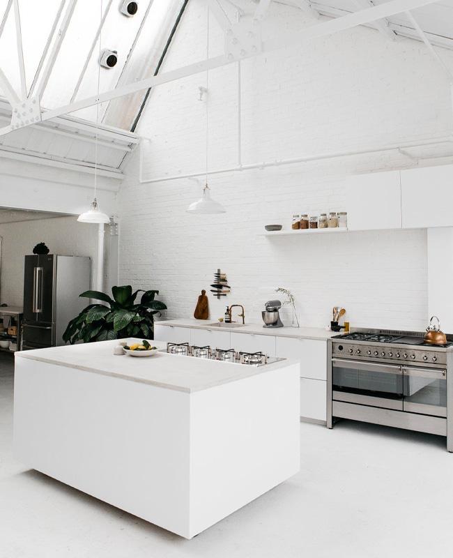 deco cuisine industrielle blanc total look