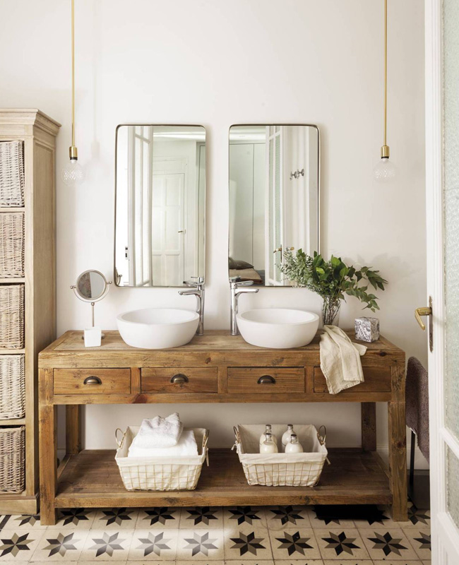 deco salle de bain beige blanc campagne