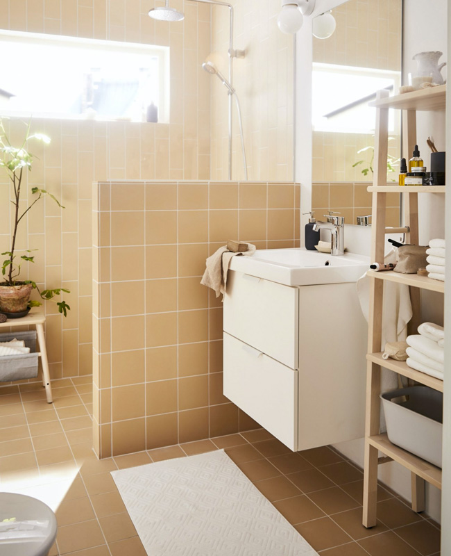 deco salle de bain moderne beige blanc