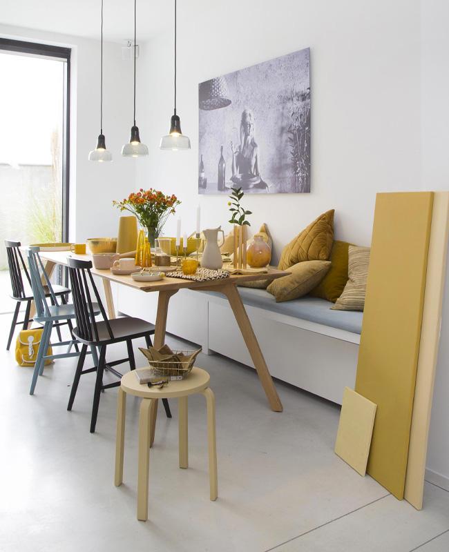 deco scandinave gris jaune salle a manger