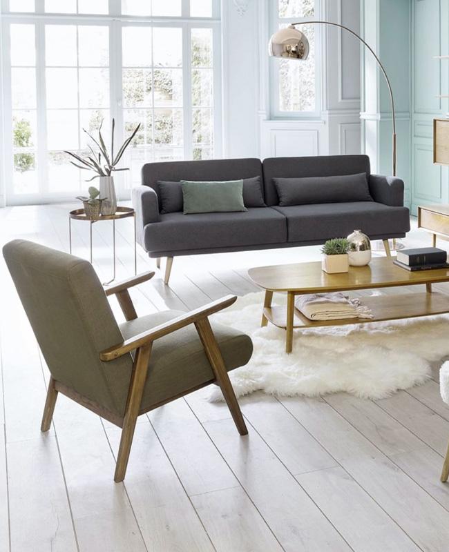 fauteuil bois vintage vert kaki