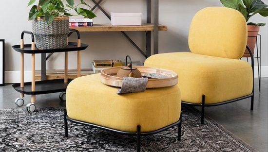 fauteuil jaune moutarde