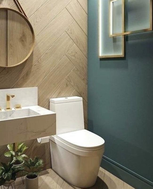 carrelage mural imitation bois deco toilettes wc