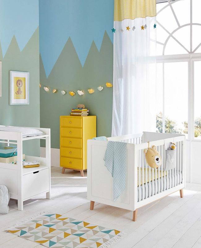 deco chambre bebe jaune bleu vert