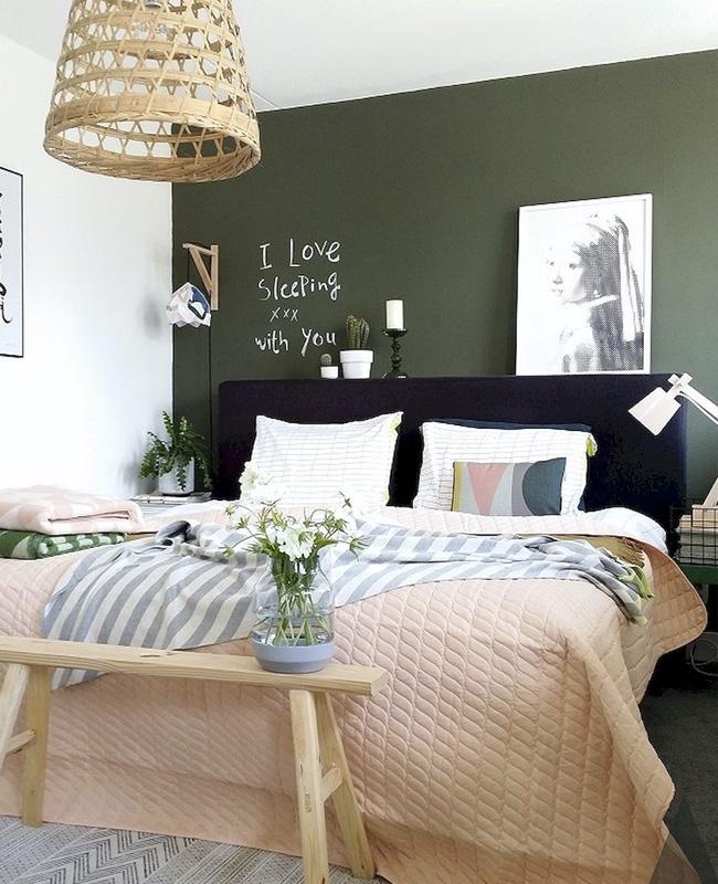 deco mur vert kaki chambre