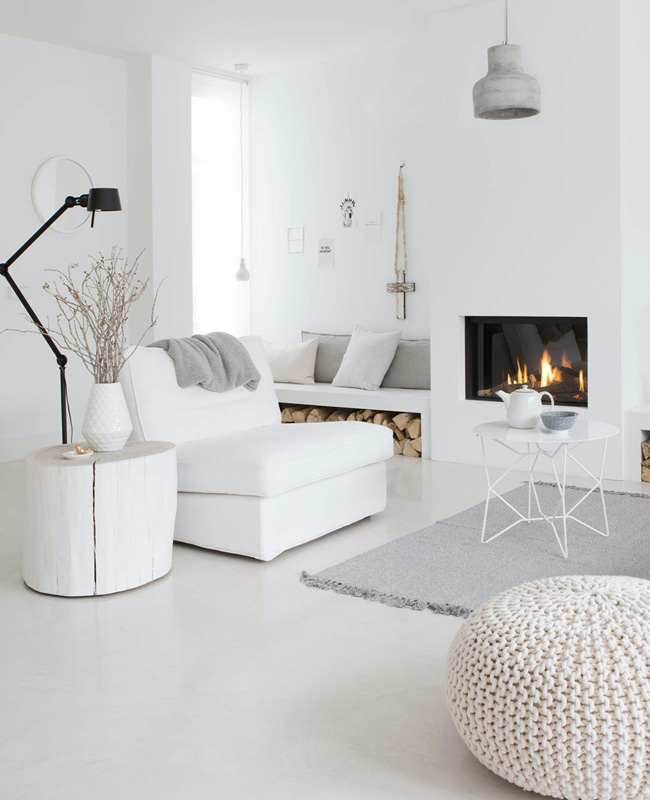 deco salon moderne beton blanc