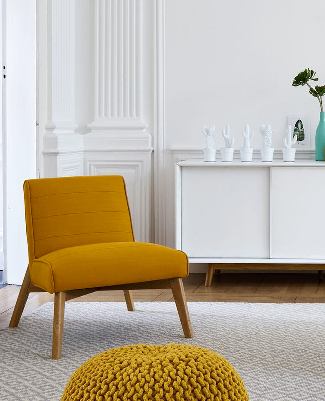 fauteuil jaune moutarde moderne