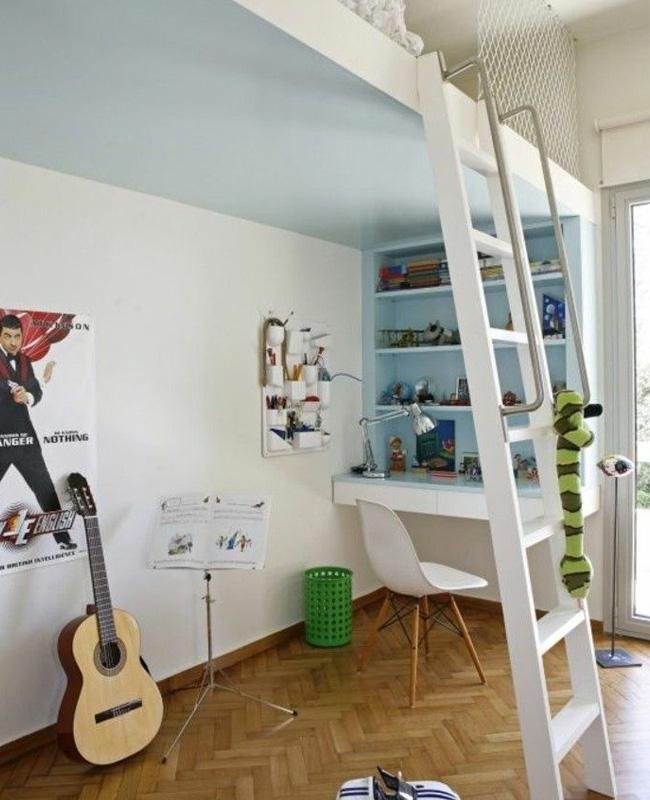 mezzanine intégrée deco chambre ado