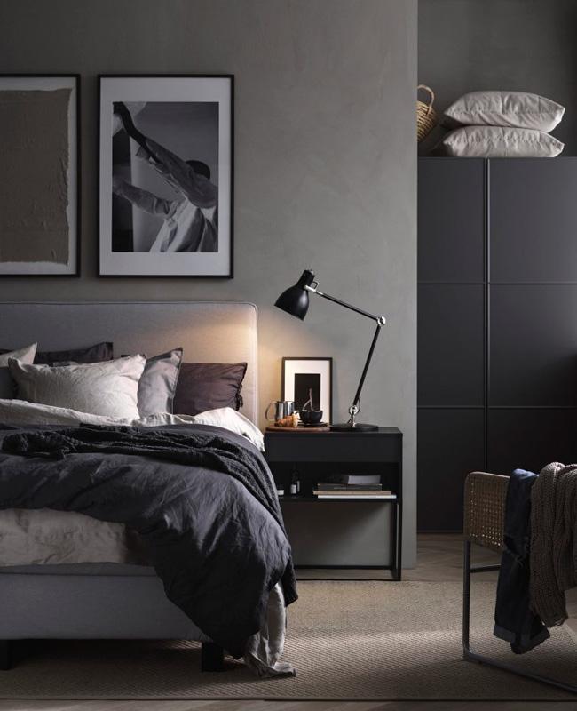 chambre moderne noir gris