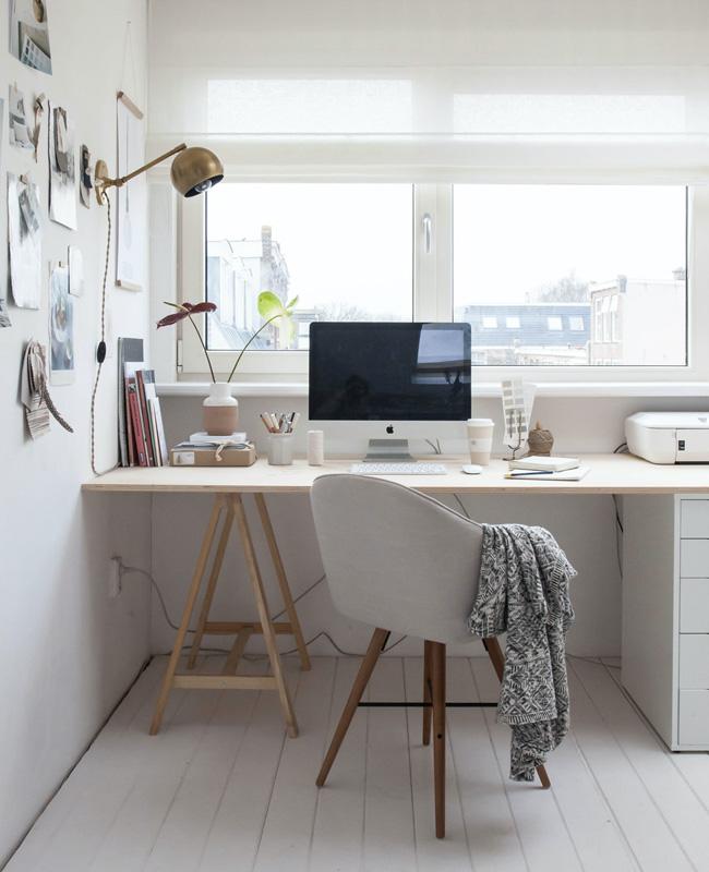 deco bureau nature blanc bois
