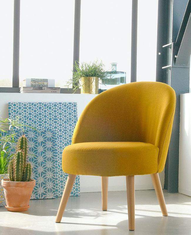 fauteuil jaune moutarde vintage