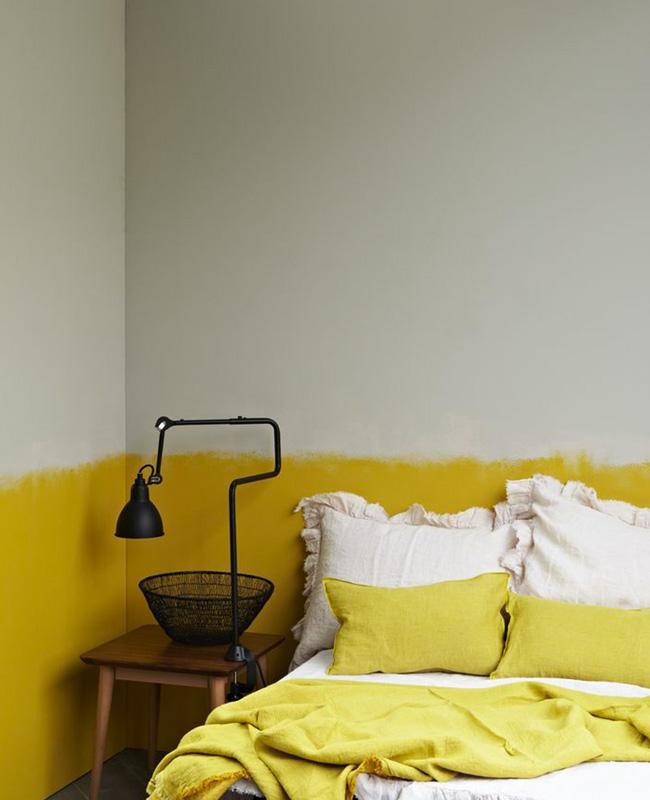soubassement jaune deco chambre beige