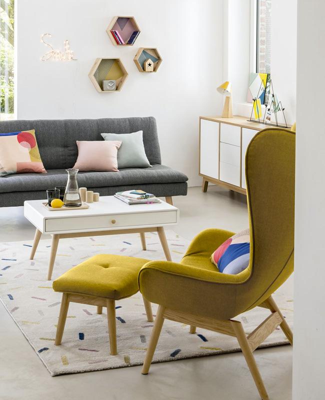 fauteuil a oreilles jaune moutarde