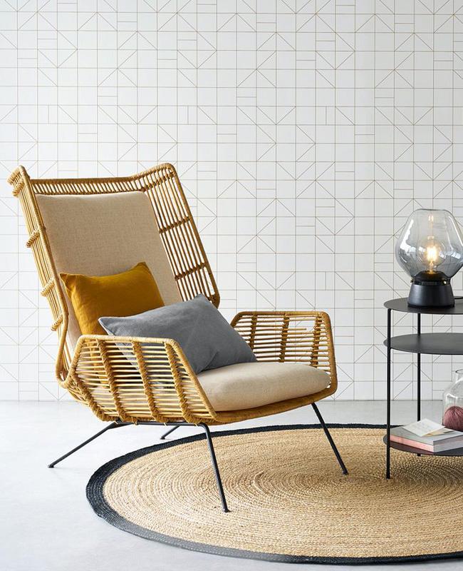 fauteuil bas rotin moderne