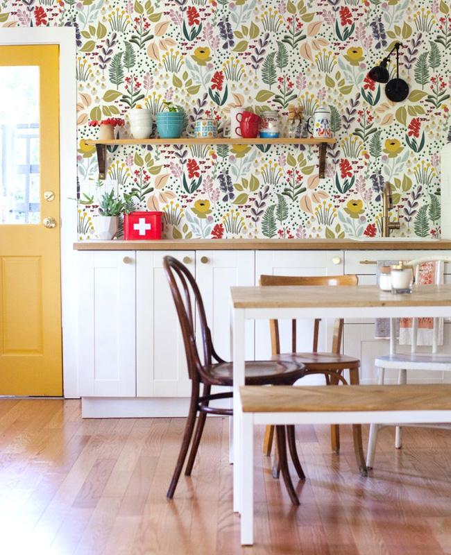 papier peint floral deco cuisine campagne