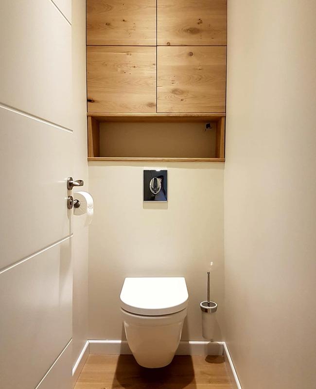deco toilettes wc bois meuble haut