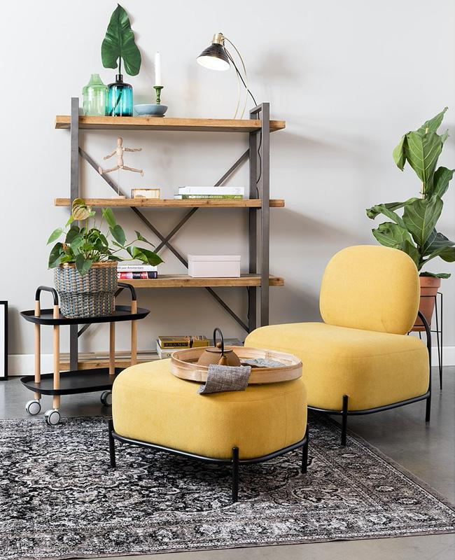 fauteuil moderne jaune moutarde