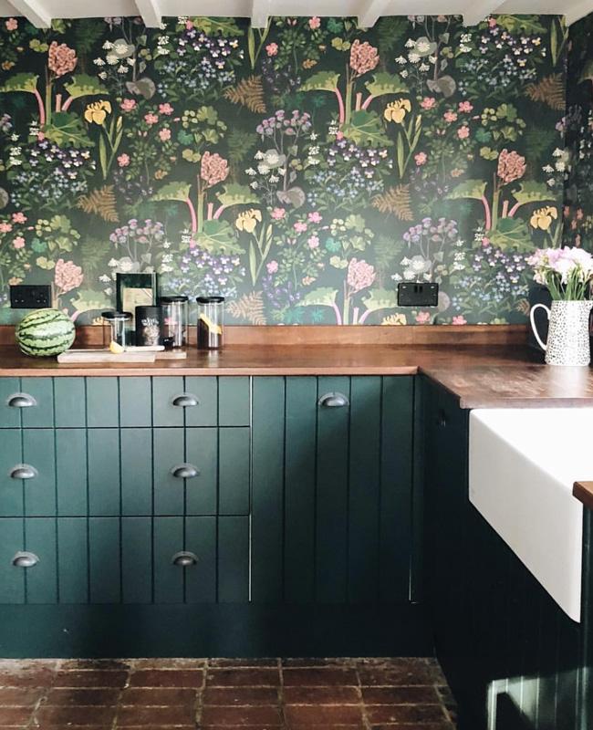 papier peint vert deco cuisine campagne