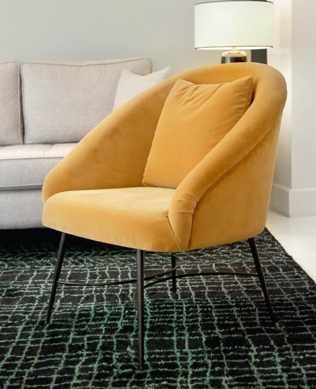 fauteuil jaune moutarde velours