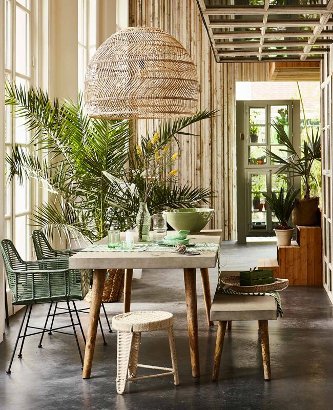plante géante deco salle a manger tropicale
