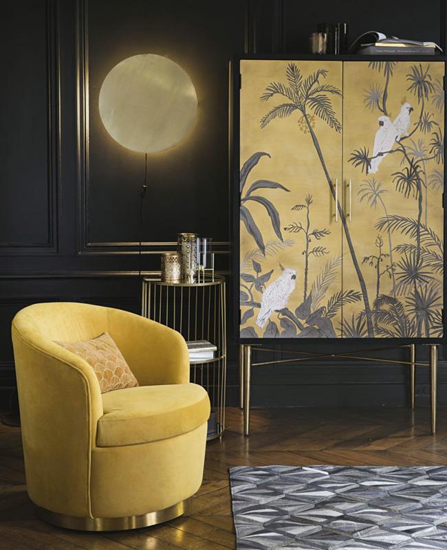 fauteuil jaune moutarde velours laiton