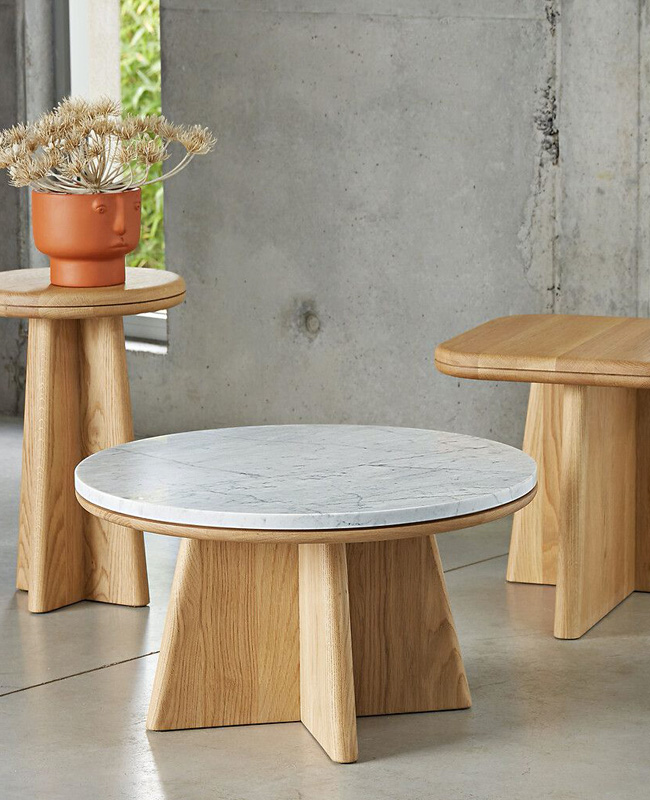 table basse ronde marbre blanc bois