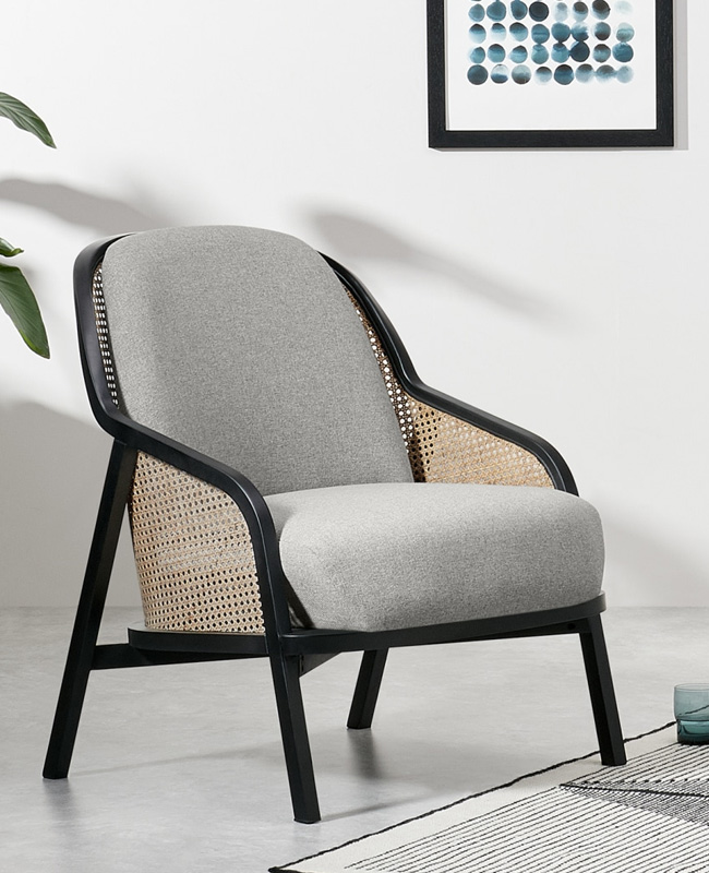 fauteuil cannage gris noir