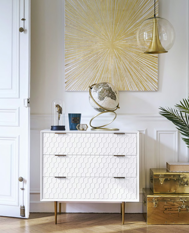 commode blanche motifs