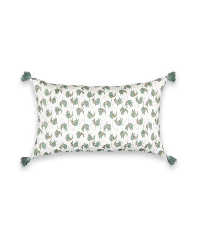 coussin motifs vert