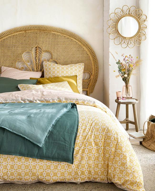 deco chambre cannage tete de lit vintage