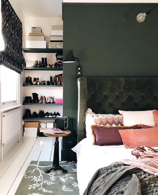 deco chambre chic vert kaki rose