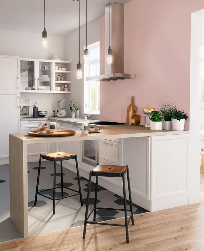 deco cuisine sol gris mur rose