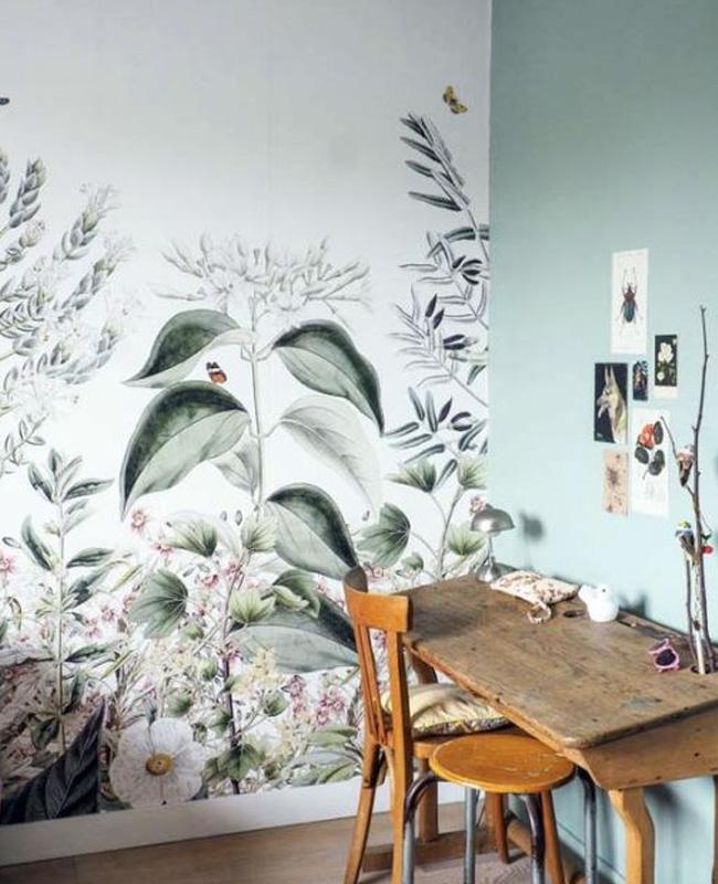 deco papier peint vegetal bureau